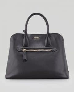 Prada Black Saffiano Cuir Open Promenade Tote Bag