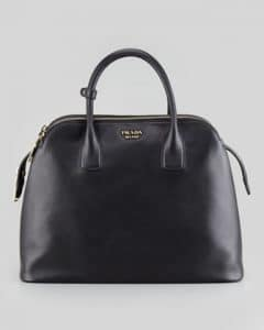 Prada Black Saffiano Cuir Triple-Zip Dome Tote Bag