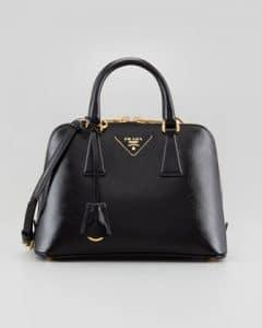 Prada Black Saffiano Vernice Promenade Crossbody Bag