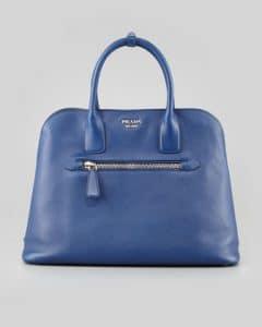 Prada Blue Saffiano Cuir Open Promenade Tote Bag