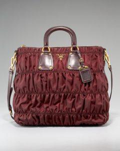 Prada Bordeaux Tessuto Gaufre Tote Bag