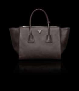 Prada Brown Glace Calfskin Twin Pocket Tote Bag 1