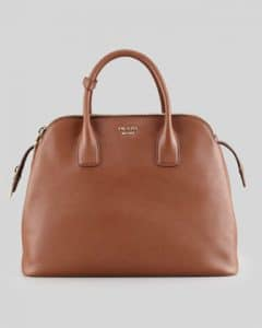 Prada Brown Saffiano Cuir Triple-Zip Dome Tote Bag