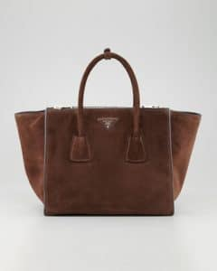 Prada Brown Suede Twin Pocket Bag