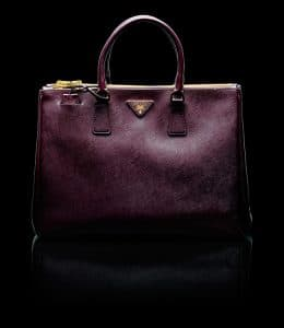 Prada Burgundy Saffiano Top Handle Large Bag