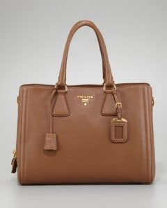 Prada Camel Cervo Center Zip Tote Bag