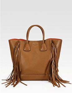 Prada Camel Cervo Side Fringe Tote Bag