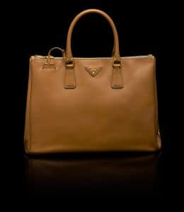 Prada Caramel Saffiano Top Handle Large Bag