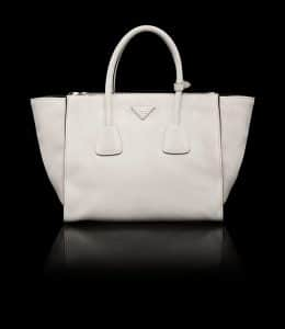 Prada Chalk White Suede Twin Pocket Tote Bag