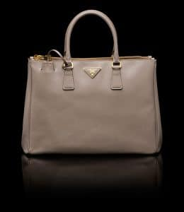 Prada Clay Grey Saffiano Top Handle Large Bag