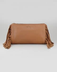 Prada Dark Camel Cervo Fringe Clutch Bag