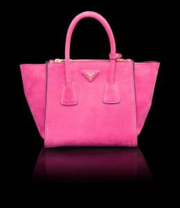 Prada Fuchsia Suede Twin Pocket Small Bag