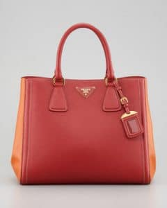 Prada Fuocco/Papaya Saffiano Bi-color Tote Bag