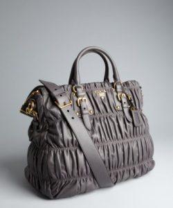 Prada Graphite Napa Gaufre Convertible Tote Bag