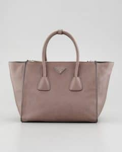 Prada Gray Glace Calf Twin Pocket Tote Bag