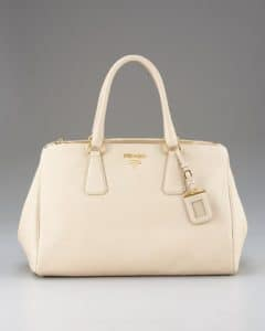 Prada Ivory Cervo Double-Handle Tote Bag