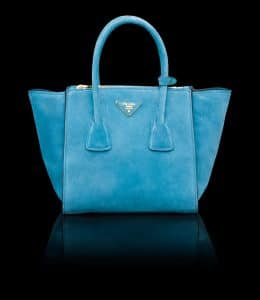 Prada Light Blue Suede Twin Pocket Small Bag