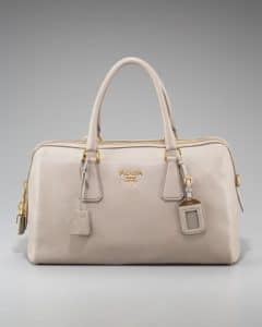 Prada Light Gray Cervo Bowler Bag
