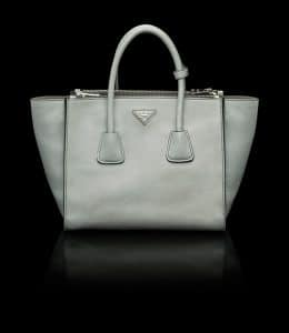 Prada Light Grey Glace Calfskin Twin Pocket Tote Bag