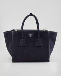Prada Navy Suede Twin Pocket Tote Bag