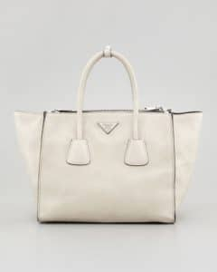 Prada Off White Glace Calf Twin Pocket Tote Bag