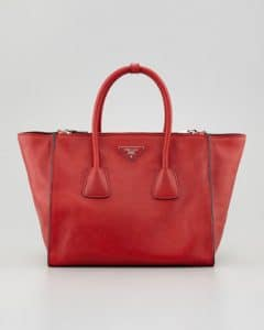 Prada Red Glace Calf Twin Pocket Tote Bag