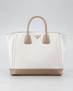 Prada Talco/Visone Saffiano Bi-color Tote Bag