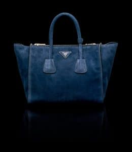 Prada Ultramarine Blue Suede Twin Pocket Tote Bag