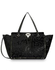 Valentino Black Pony Hair Rockstud Tote Bag