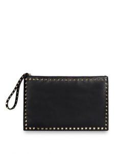 Valentino Black Rockstud Calfskin Clutch Bag