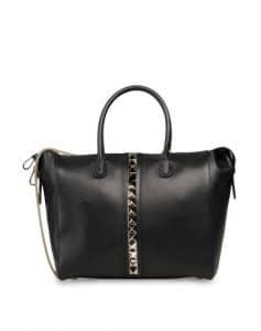 Valentino Black Rockstud Double Handle Tote Bag