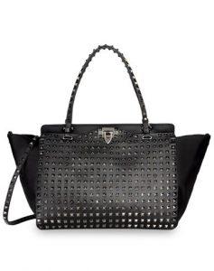 Valentino Black Rockstud Ruthenium Stud Tote Bag