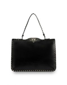 Valentino Black Rockstud Top Handle Bag