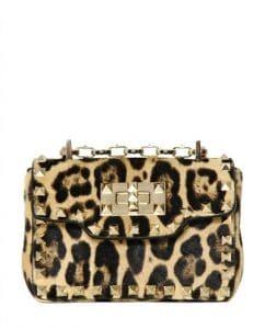 Valentino Leopard Ponyskin Rockstud Shoulder Bag