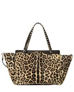 Valentino Leopard Ponyskin Rockstud Tote Medium Bag