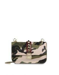 Valentino Military Green Rockstud Flap Medium Bag