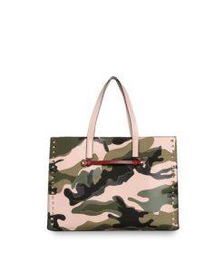 Valentino Military Green Rockstud Tote Bag