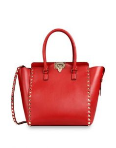 Valentino Red Rockstud Double Handle Tote Bag