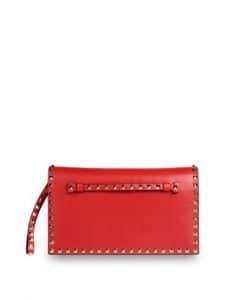 Valentino Red Rockstud Platinum Studs Clutch Bag
