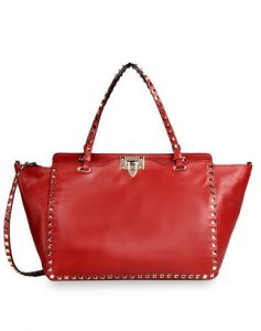Valentino Red Rockstud Tote Medium Bag