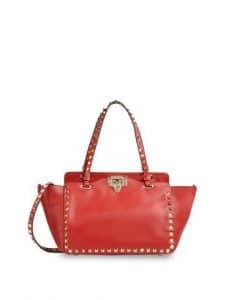 Valentino Red Rockstud Tote Mini Bag