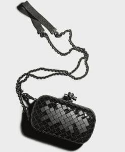 Bottega Veneta Nero Ayers Mosaique Knot Bag