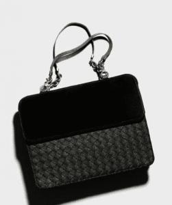 Bottega Veneta Nero Carta Intrecciata Velvet Bag