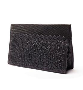 Bottega Veneta Nero Intreccio Tricot Rafia Clutch Bag - Fall 2013