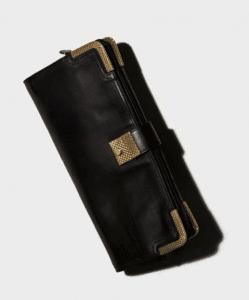 Bottega Veneta Nero Waxed Leather Gold Metal Clutch Bag