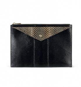 Givenchy Black Ayers and Natural Elaphe Envelope Clutch Medium Bag