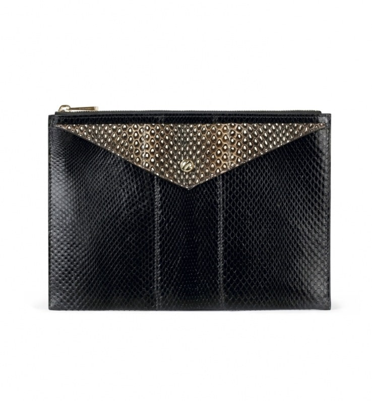 5a80c29607 Givenchy Black Ayers and Natural Elaphe Envelope Clutch Medium Bag
