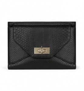 Givenchy Black Python Shark Lock Clutch Small Bag
