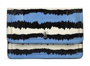 Givenchy Blue/Black/White Printed Ayers Patchwork Clutch Bag