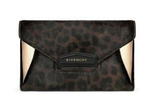 Givenchy Chocolate Leopard Print on Calf Pony Effect Antigona Envelope Small Bag